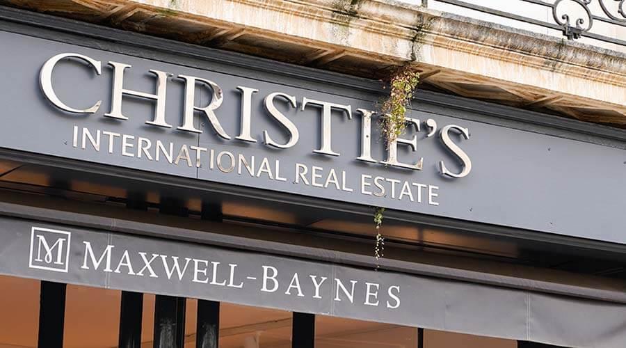 Bordeaux , Aquitaine / France - 10 17 2019 : Christie`s International Real Estate sign store logo on boutique Christies shop
