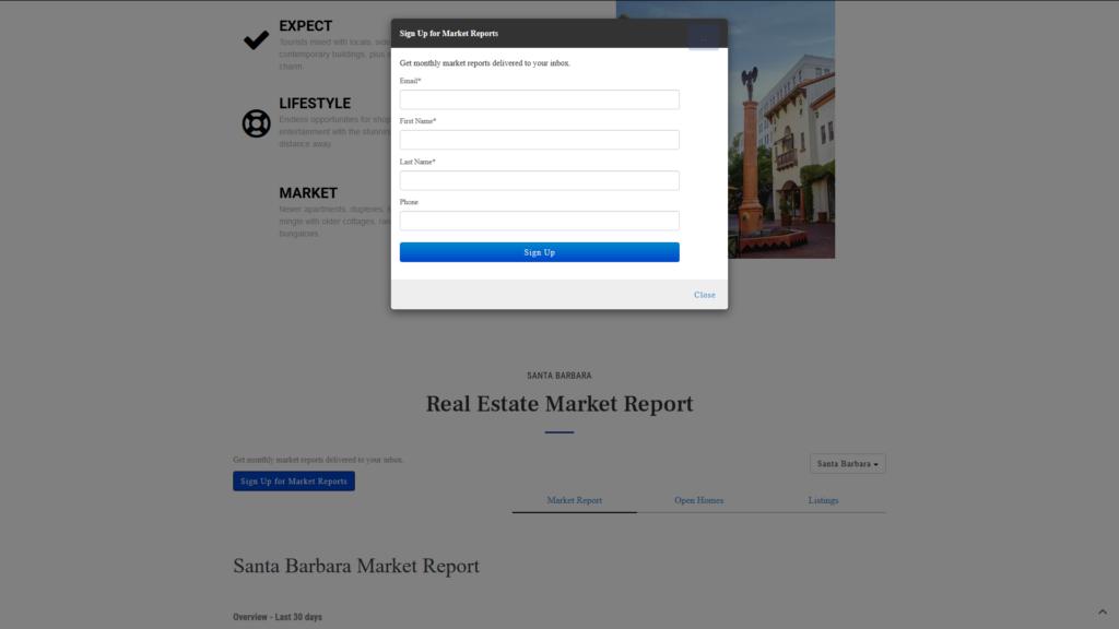 Custom WordPress IDX Real Estate Website - Email Updates Signup