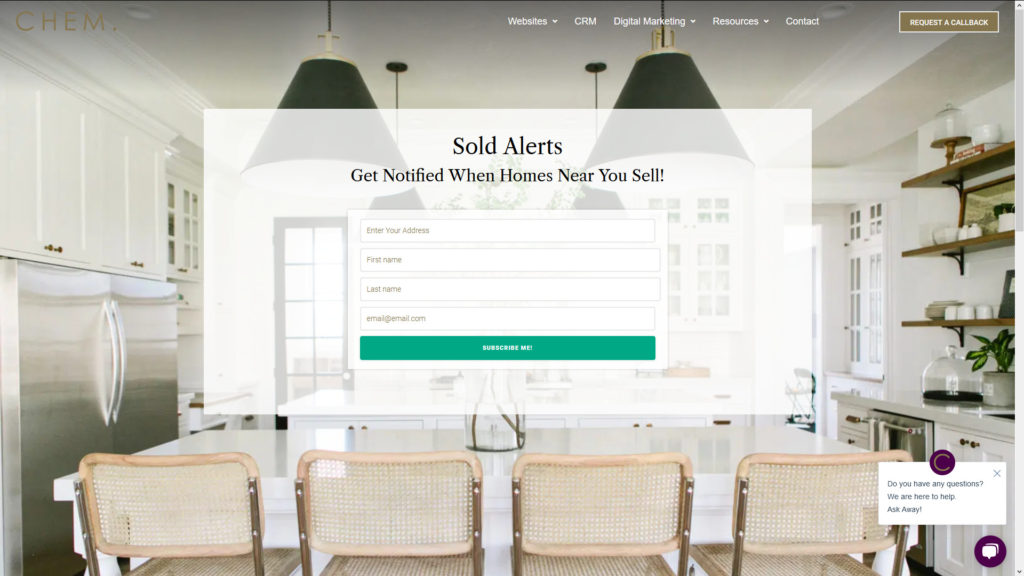 Sold Home Notification Seller Lead Landing Page